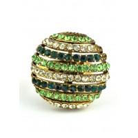 КО1566-3 Кольцо безразмерное с зелеными камнями