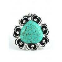 КО1580-1 кольцо с бирюзой стрейчевое