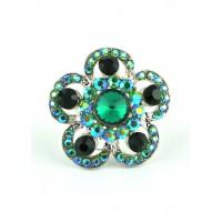 КО1680-1 Кольцо безразмерное с зелеными камнями Ф4см