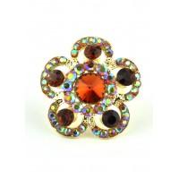 КО1680-3 Кольцо безразмерное с оранжево-коричневыми камнями Ф4см