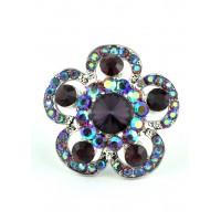 КО1680-4 Кольцо безразмерное с фиолетовыми камнями Ф4см