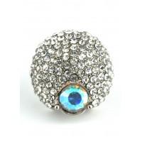 КО2166-1 Кольцо безразмерное с белыми камнями