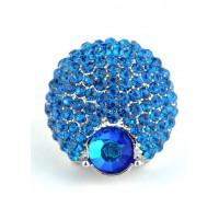 КО2166-2 Кольцо безразмерное с синими камнями