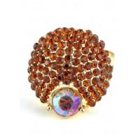КО2166-3 Кольцо безразмерное с коричневыми камнями