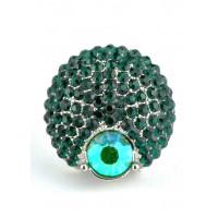 КО2166-4 Кольцо безразмерное с зелеными камнями