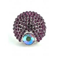 КО2166-5 Кольцо безразмерное с фиолетовыми камнями