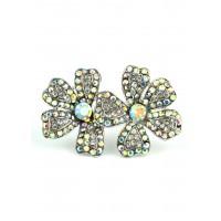 КО2260-1 Кольцо безразмерное с цветами и белыми камнями