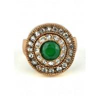КО2500-1з-17 кольцо с зеленым камнем 17размер