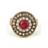 КО2500-1к-17 кольцо с красным камнем 17размер