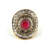 КО2500-2к-17 кольцо с красным камнем 17размер