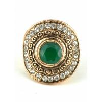 КО2500-2з-17 кольцо с зеленым камнем 17размер