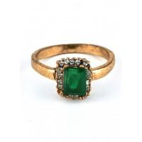 КО2805-1з-19 кольцо с зеленым камнем размер 19
