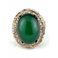 КО3120-1з-17 кольцо зеленый камень 17размер