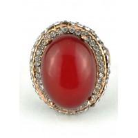 КО3120-1к-17 кольцо красный камень 17размер