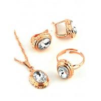 СП 4150-3 Комплект длина цепочки вдвое 23см, кольцо безразмерное, серьги с англ. застежкой