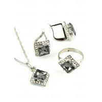 СП 4750-3 Набор длина цепочки вдвое 23см, кольцо безразмерное, серьги с англ. застежкой