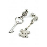 СГ1160-3 Серьги гвоздики череп с ключом