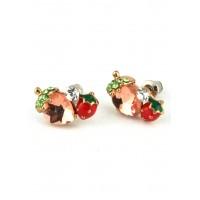 СГ1475-11 Серьги гвоздики с персиковыми камнями
