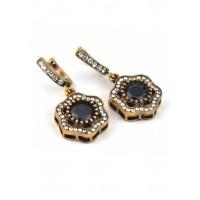 СГ4560-2 Серьги Османское серебро с темно-синим камнем, длина 3,5см