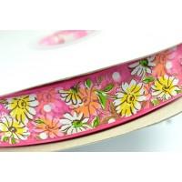 ЛП ш25-5 розовая цветы органза 10м