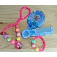 СП 3200-3 Комплект детский (зеркало, гребень, подвеска, браслет) розовый