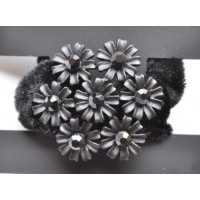 Р1625-5 Резинка велюр, черные цветы