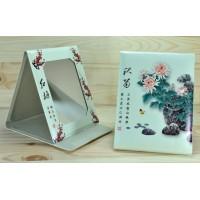 4639 Зеркало карманное Книжечка китайские цветы