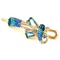 А5180-1-3 Утка длина 10,5см с голубыми камнями