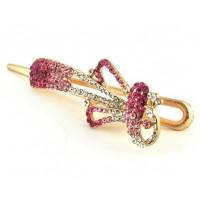 А5180-1  Утка длина 10,5см с розовыми камнями