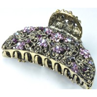 К4400-9 Краб под бронзу, длина 7,5см, с фиолетовыми камнями