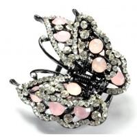 К4900-3 Краб длина 5см с розовыми камнями