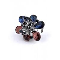 К1725-3 Краб с разноцветными камнями длина 2,5см