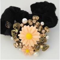 Р1990-1 Резинка велюр с камешками, жемчужинками и цветочками
