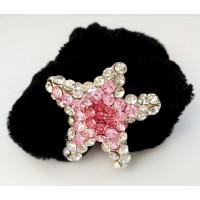 Р1990-12 Резинка на велюровой основе звезда с розовыми камнями