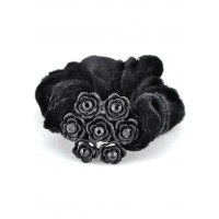 Р1625-3 Резинка велюр, черные цветы