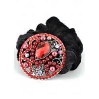 Р2250-2-2 Резинка велюровая с красными камнями
