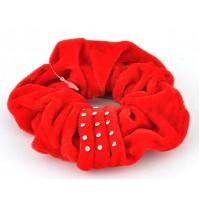 Р1293-4 Резинка велюр красная