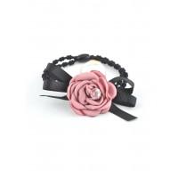 Р3500-7-5 Резинка с бусиной и цветком розово-сиреневого цвета