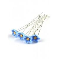 Ш300-3/20 Шпильки голубые цветы длина 6,5см, d=1,2см