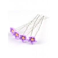 Ш300-5/20 Шпильки сиреневые цветы длина 6,5см, d=1,2см