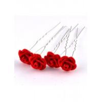 Ш500-1/20 Шпильки роза красная длина 6,5см, d=1.5см