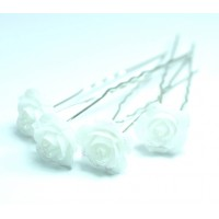 Ш320-1/20 Шпильки белые цветы длина 6,5см, d=1,2см