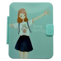 4649-1 Зеркало карманное с расческой голубое 9*7 см