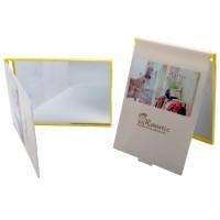 4650-2 Зеркало карманное желтое  11,5*7,5см